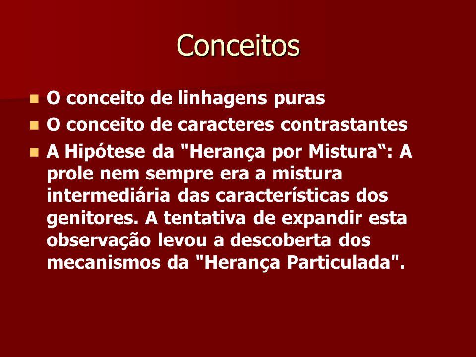 Conceitos O conceito de linhagens puras O conceito de caracteres contrastantes A Hipótese da Herança por Mistura: A prole nem sempre era a mistura intermediária das características dos genitores.
