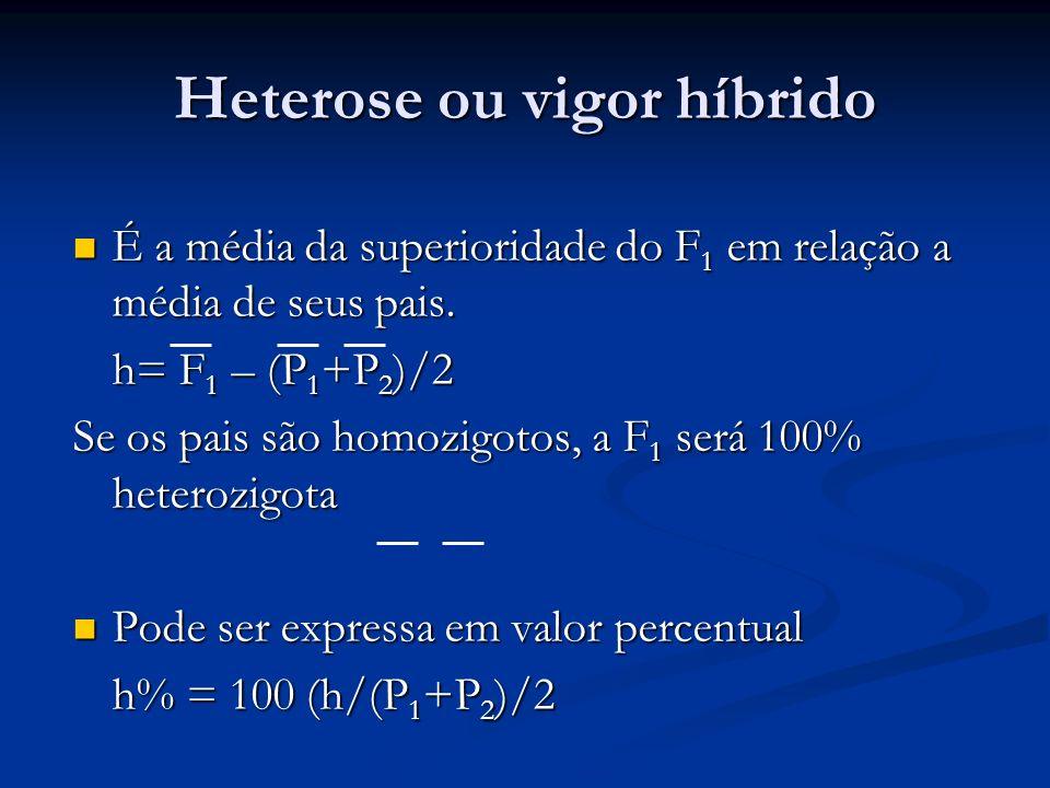 Heterose ou vigor híbrido É a média da superioridade do F 1 em relação a média de seus pais. É a média da superioridade do F 1 em relação a média de s