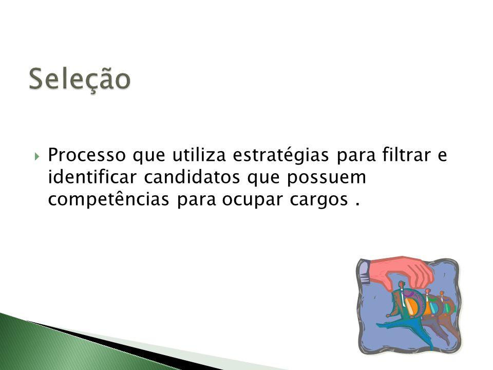 Processo que utiliza estratégias para filtrar e identificar candidatos que possuem competências para ocupar cargos.