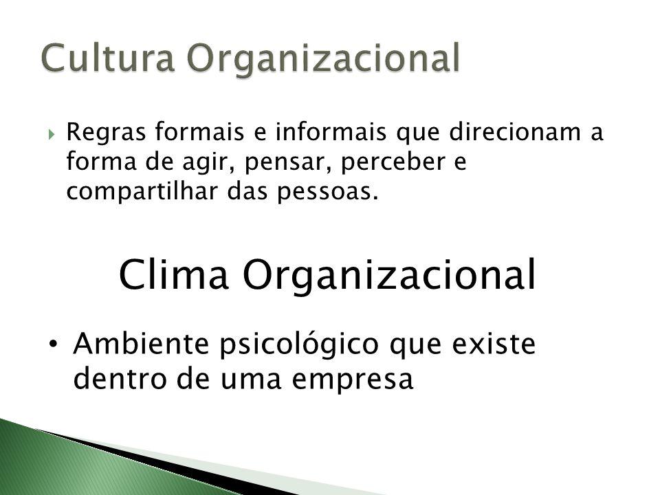 Regras formais e informais que direcionam a forma de agir, pensar, perceber e compartilhar das pessoas. Clima Organizacional Ambiente psicológico que