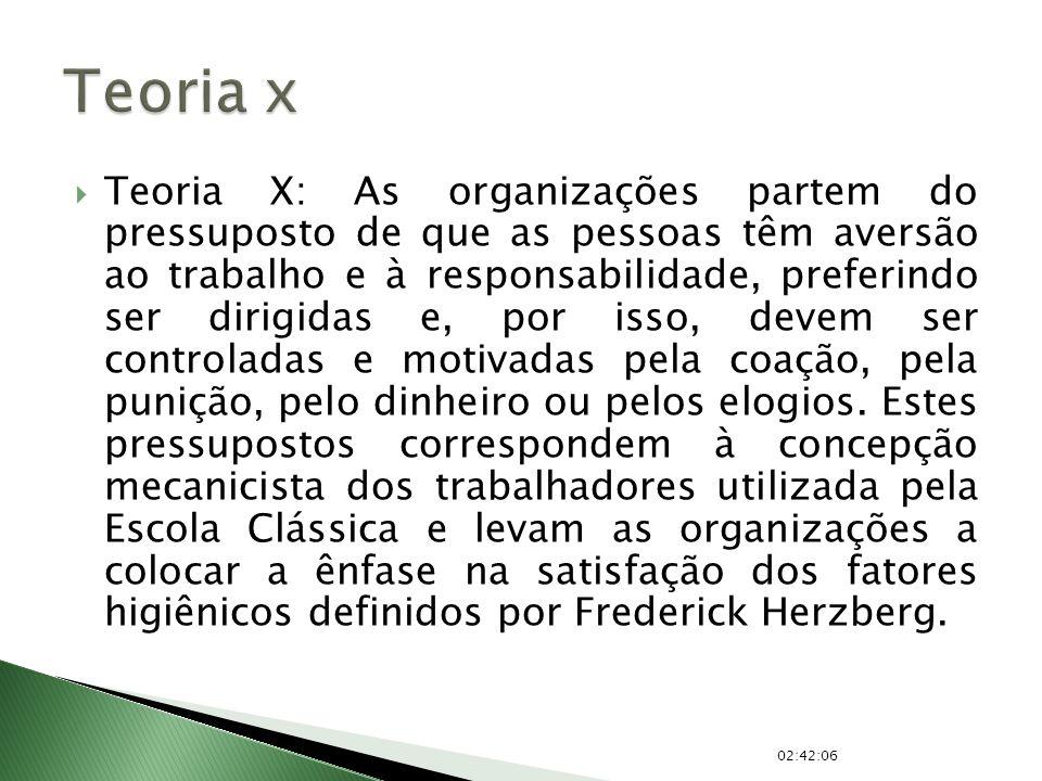 Teoria X: As organizações partem do pressuposto de que as pessoas têm aversão ao trabalho e à responsabilidade, preferindo ser dirigidas e, por isso,