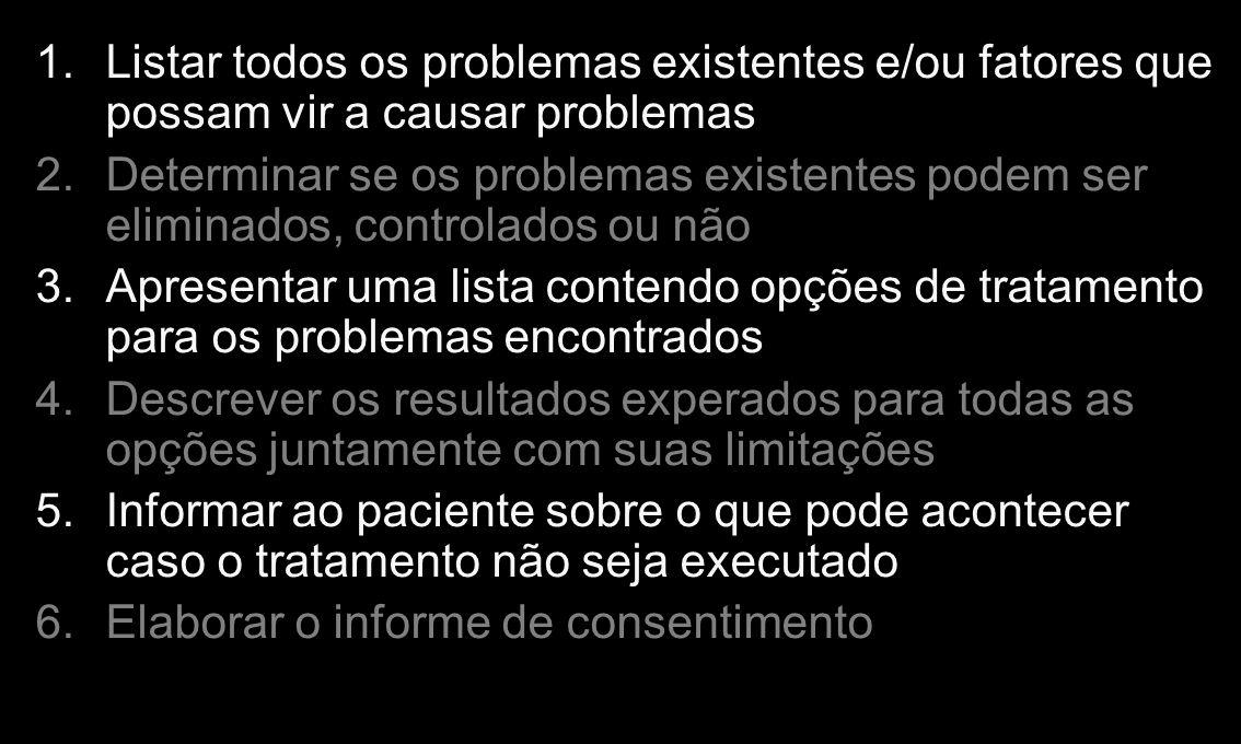 1.Listar todos os problemas existentes e/ou fatores que possam vir a causar problemas 2.Determinar se os problemas existentes podem ser eliminados, co