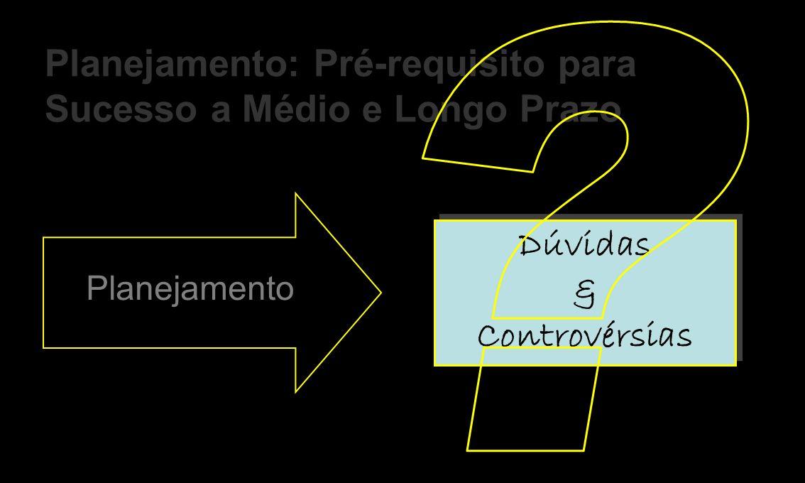 Dúvidas & Controvérsias Dúvidas & Controvérsias Dúvidas & Controvérsias Planejamento Planejamento: Pré-requisito para Sucesso a Médio e Longo Prazo