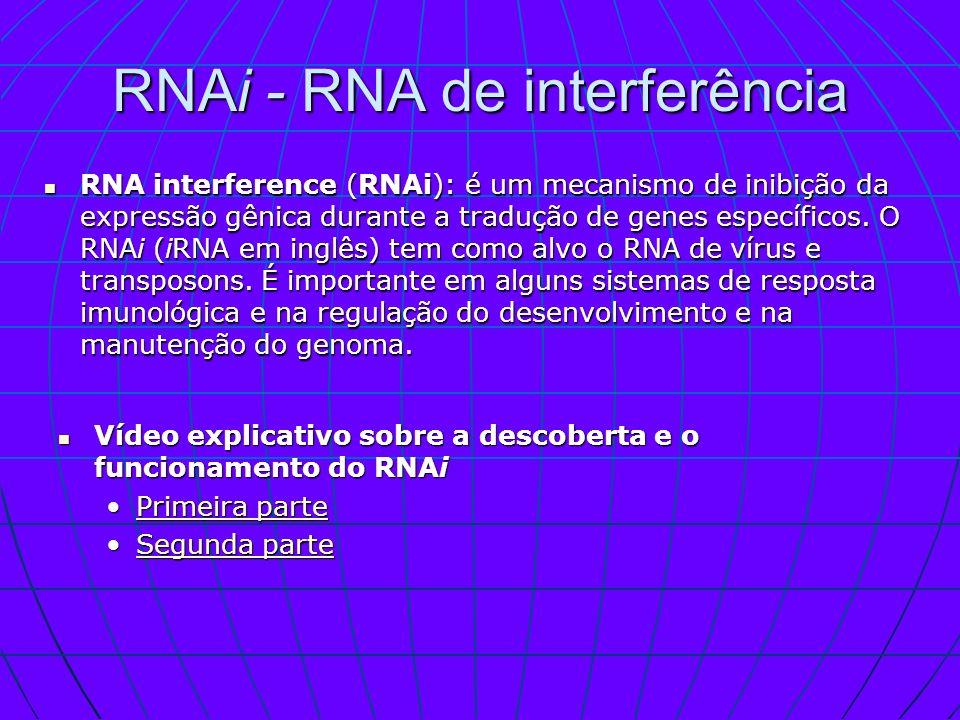 RNAi - RNA de interferência RNA interference (RNAi): é um mecanismo de inibição da expressão gênica durante a tradução de genes específicos. O RNAi (i