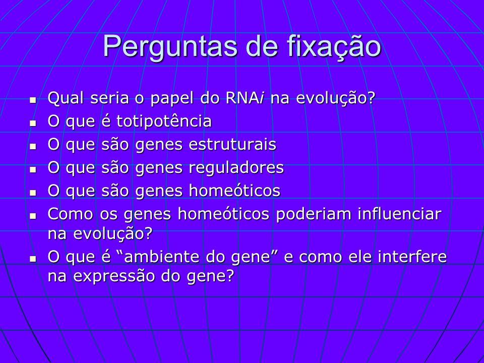 Perguntas de fixação Qual seria o papel do RNAi na evolução? Qual seria o papel do RNAi na evolução? O que é totipotência O que é totipotência O que s