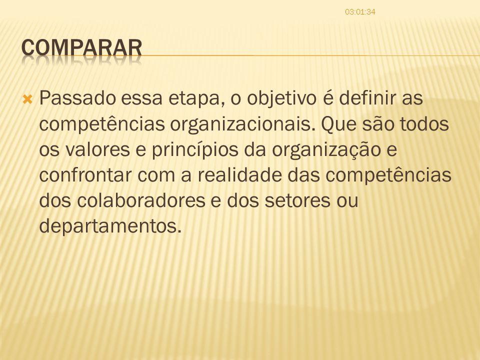 Passado essa etapa, o objetivo é definir as competências organizacionais. Que são todos os valores e princípios da organização e confrontar com a real