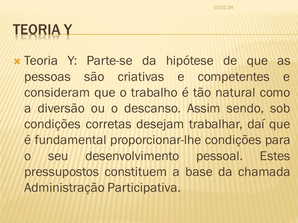 Teoria Y: Parte-se da hipótese de que as pessoas são criativas e competentes e consideram que o trabalho é tão natural como a diversão ou o descanso.