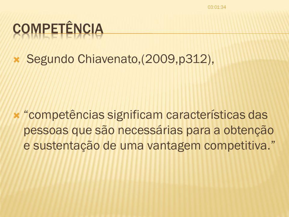 Segundo Chiavenato,(2009,p312), competências significam características das pessoas que são necessárias para a obtenção e sustentação de uma vantagem