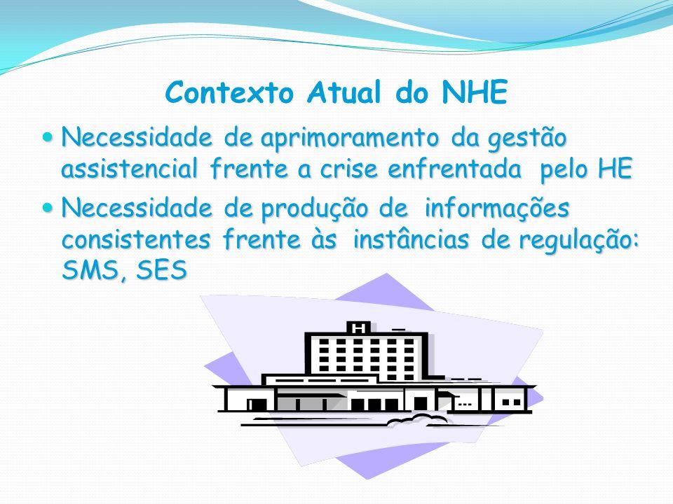 Contexto Atual do NHE Necessidade de aprimoramento da gestão assistencial frente a crise enfrentada pelo HE Necessidade de aprimoramento da gestão ass