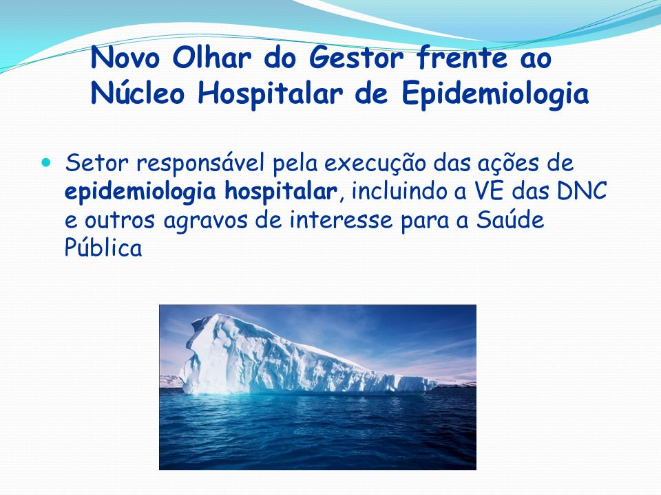 Novo Olhar do Gestor frente ao Núcleo Hospitalar de Epidemiologia Setor responsável pela execução das ações de epidemiologia hospitalar, incluindo a V