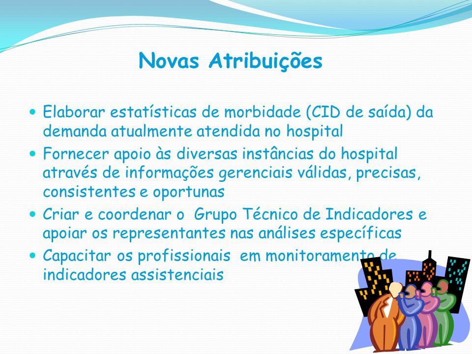 Novas Atribuições Elaborar estatísticas de morbidade (CID de saída) da demanda atualmente atendida no hospital Fornecer apoio às diversas instâncias d