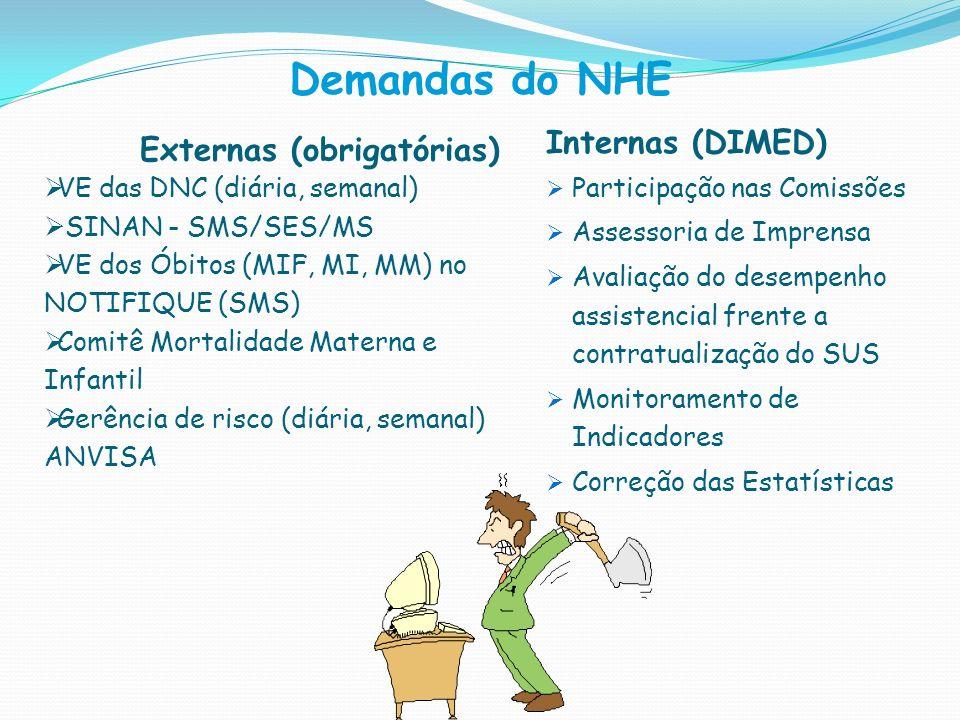 Demandas do NHE Internas (DIMED) Participação nas Comissões Assessoria de Imprensa Avaliação do desempenho assistencial frente a contratualização do S