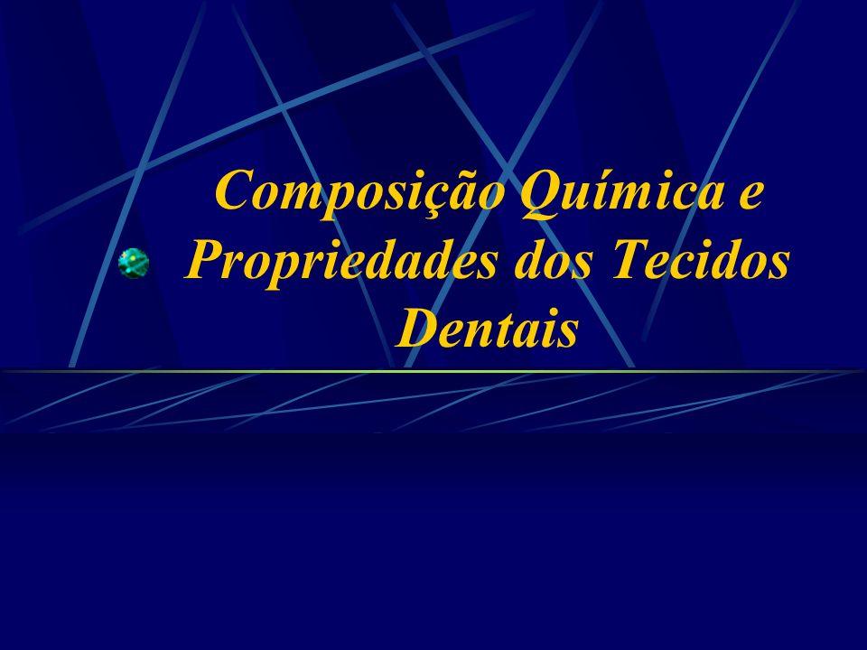 Composição Química dos Dentes Carbonato O carbonato pode ocupar duas diferentes posições na estrutura da Hidroxiapatita do esmalte: O carbonato pode ocupar duas diferentes posições na estrutura da Hidroxiapatita do esmalte: Posição A- Na posição da hidroxila, mais presente no esmalte de dentes decíduos; Posição A- Na posição da hidroxila, mais presente no esmalte de dentes decíduos; Posição B- Na posição do fosfato, mais presente no esmalte de dentes permanentes; Posição B- Na posição do fosfato, mais presente no esmalte de dentes permanentes; Este fato e o conteúdo de CO 3 podem contribuir para a mais rápida progressão de cárie em decíduos; Este fato e o conteúdo de CO 3 podem contribuir para a mais rápida progressão de cárie em decíduos; Clasen,1997
