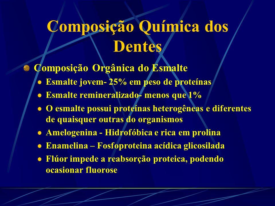 Composição Química dos Dentes Composição Orgânica do Esmalte- % Peso Seco ComponenteMolares e PreIncis. e Caninos Prot. Insoluv. 0,3-0,40,2-0,25 Colág