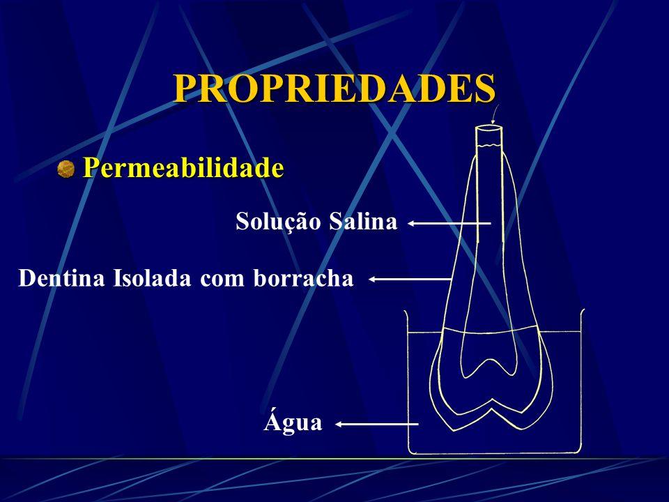 PROPRIEDADES Densidade Pó de esmalte d =2,9-3,0 Pó de dentina d = 2,14 Bromofórmio + acetona d + 2,70
