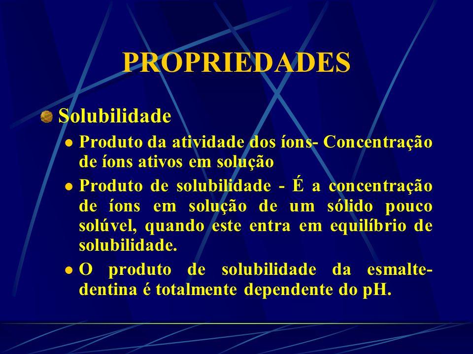 PROPRIEDADES Dureza A dureza tem sido relacionada com o conteúdo de cálcio e pode ser usada como um indicativo de mineralização, desmineralização e re