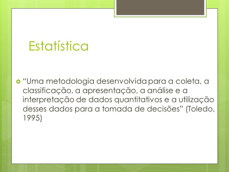 Estatística Uma metodologia desenvolvida para a coleta, a classificação, a apresentação, a análise e a interpretação de dados quantitativos e a utiliz
