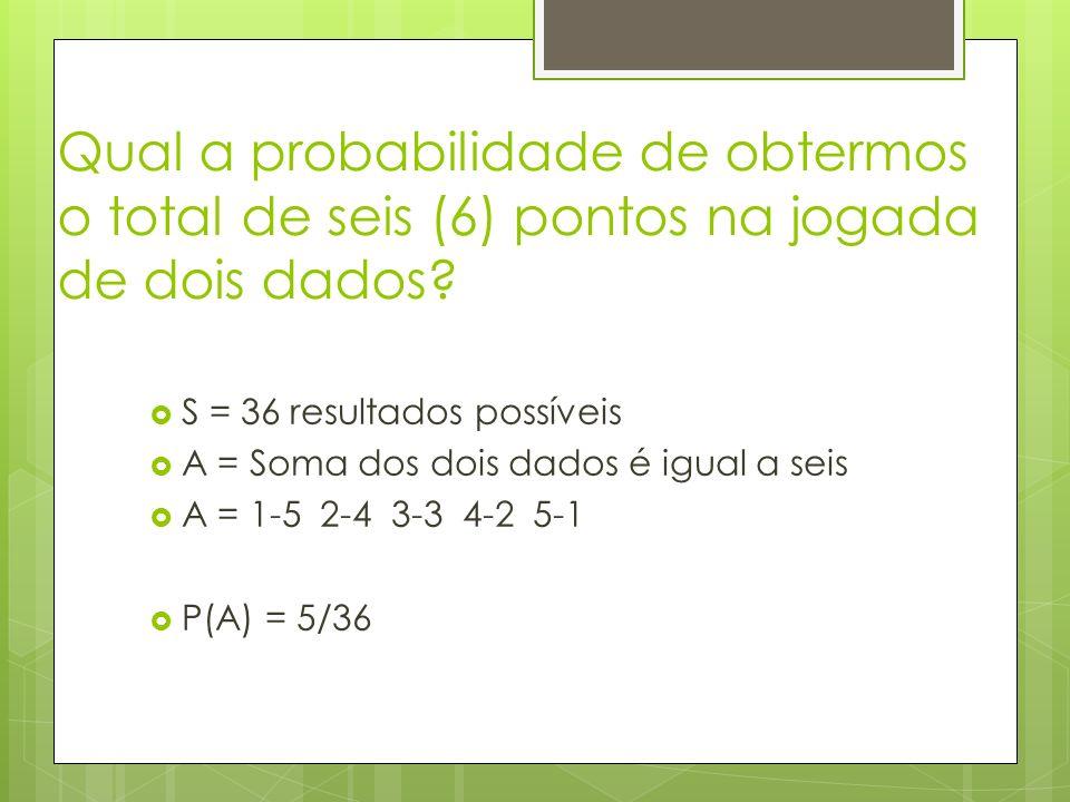 Qual a probabilidade de obtermos o total de seis (6) pontos na jogada de dois dados? S = 36 resultados possíveis A = Soma dos dois dados é igual a sei