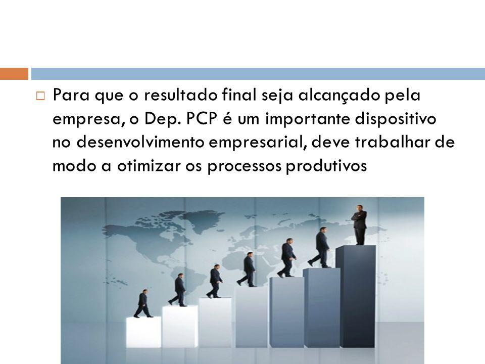 Para que o resultado final seja alcançado pela empresa, o Dep. PCP é um importante dispositivo no desenvolvimento empresarial, deve trabalhar de modo