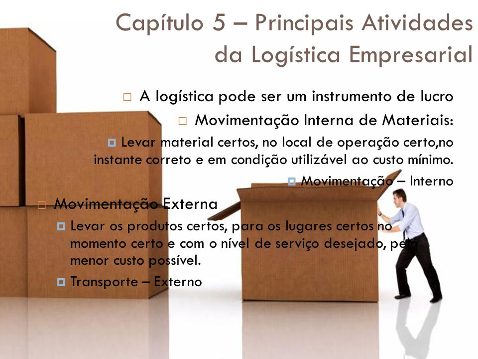 Capítulo 5 – Principais Atividades da Logística Empresarial A logística pode ser um instrumento de lucro Movimentação Interna de Materiais: Levar mate