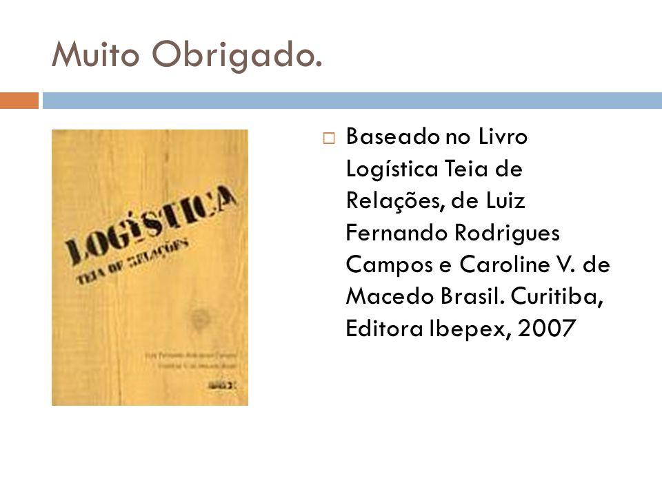 Muito Obrigado. Baseado no Livro Logística Teia de Relações, de Luiz Fernando Rodrigues Campos e Caroline V. de Macedo Brasil. Curitiba, Editora Ibepe