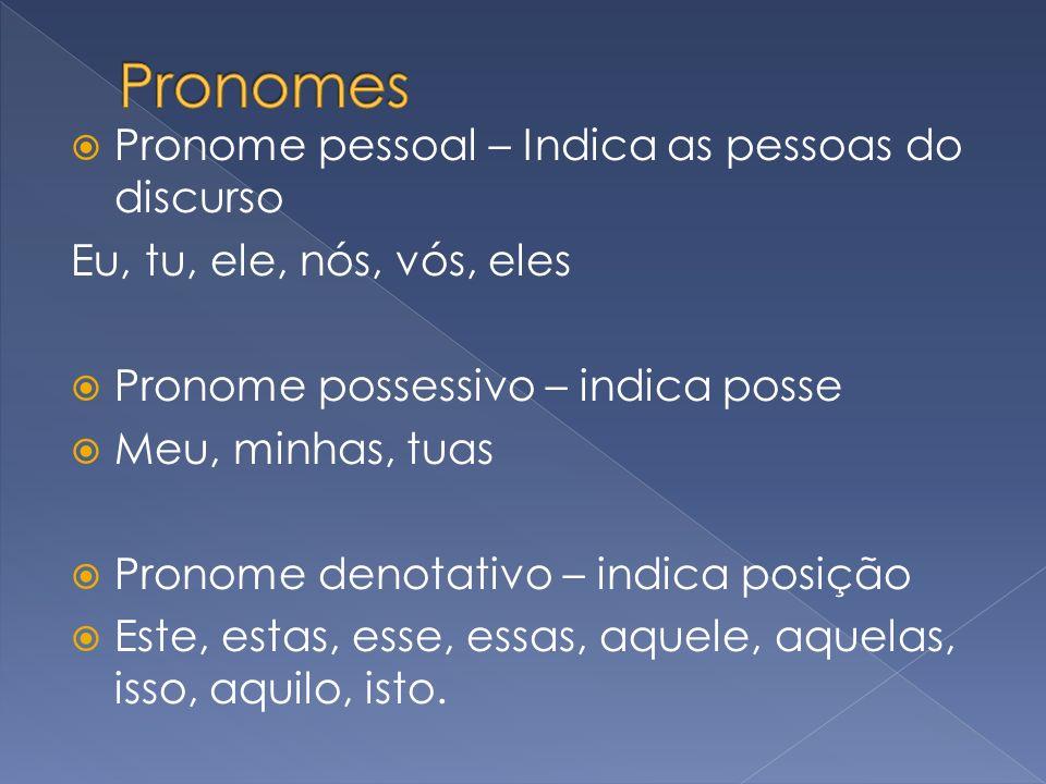 Pronome pessoal – Indica as pessoas do discurso Eu, tu, ele, nós, vós, eles Pronome possessivo – indica posse Meu, minhas, tuas Pronome denotativo – i
