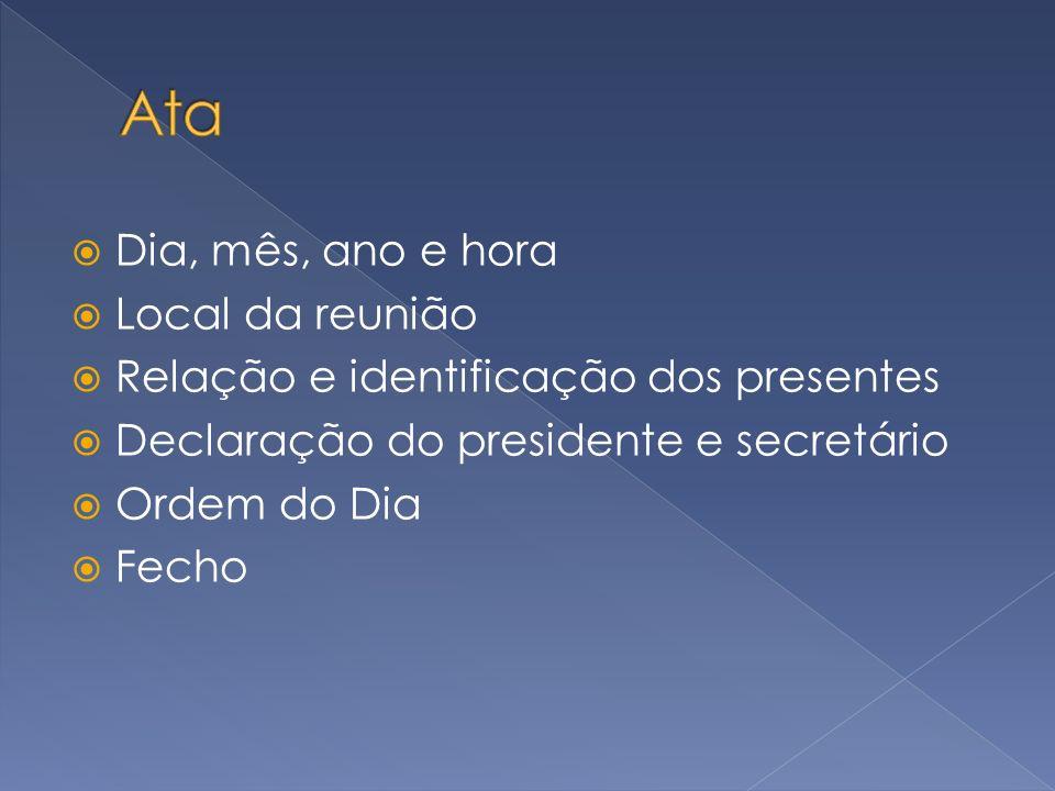 Dia, mês, ano e hora Local da reunião Relação e identificação dos presentes Declaração do presidente e secretário Ordem do Dia Fecho