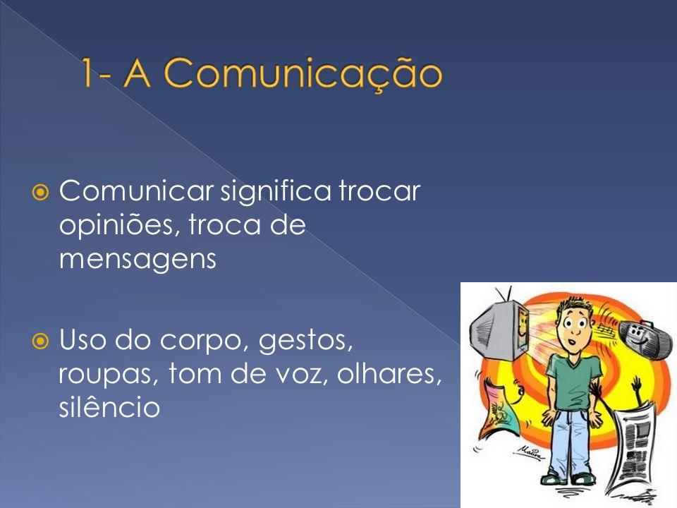 Comunicar significa trocar opiniões, troca de mensagens Uso do corpo, gestos, roupas, tom de voz, olhares, silêncio