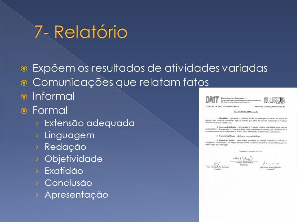 Expõem os resultados de atividades variadas Comunicações que relatam fatos Informal Formal Extensão adequada Linguagem Redação Objetividade Exatidão C