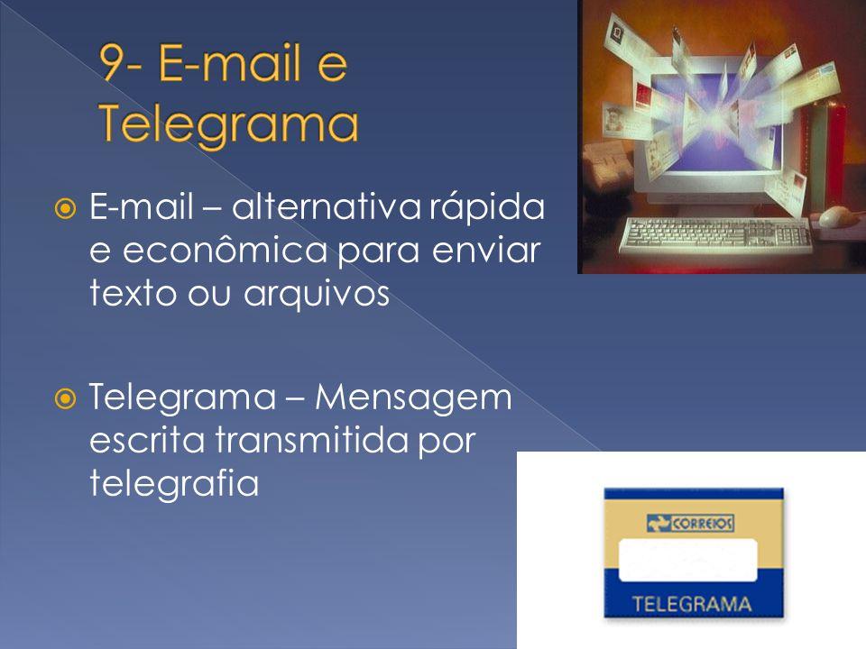 E-mail – alternativa rápida e econômica para enviar texto ou arquivos Telegrama – Mensagem escrita transmitida por telegrafia