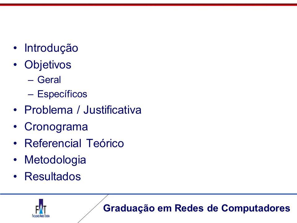 Graduação em Redes de Computadores Introdução Objetivos –Geral –Específicos Problema / Justificativa Cronograma Referencial Teórico Metodologia Result