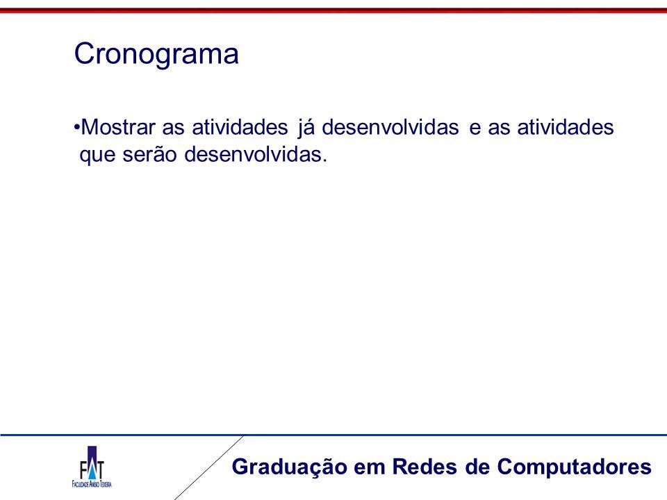 Graduação em Redes de Computadores Cronograma Mostrar as atividades já desenvolvidas e as atividades que serão desenvolvidas.