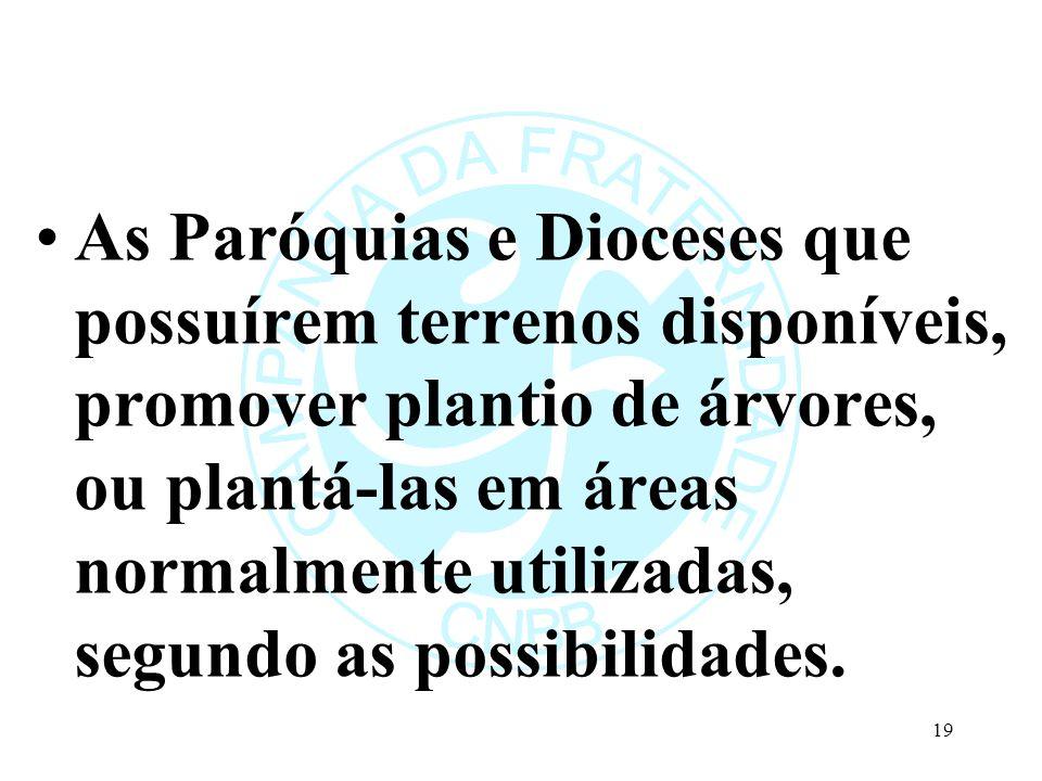As Paróquias e Dioceses que possuírem terrenos disponíveis, promover plantio de árvores, ou plantá-las em áreas normalmente utilizadas, segundo as pos