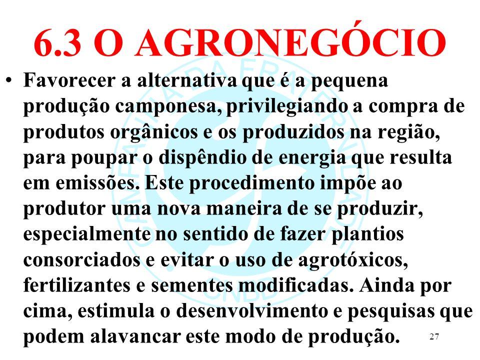 6.3 O AGRONEGÓCIO Favorecer a alternativa que é a pequena produção camponesa, privilegiando a compra de produtos orgânicos e os produzidos na região,
