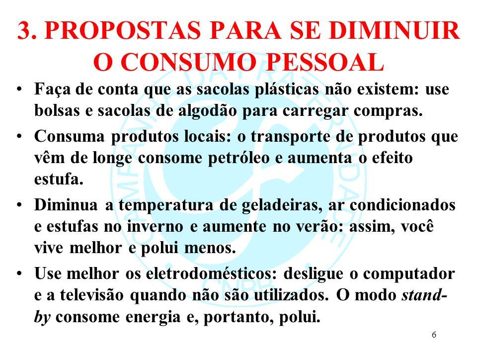 3.PROPOSTAS PARA SE DIMINUIR O CONSUMO PESSOAL Pegue sol.