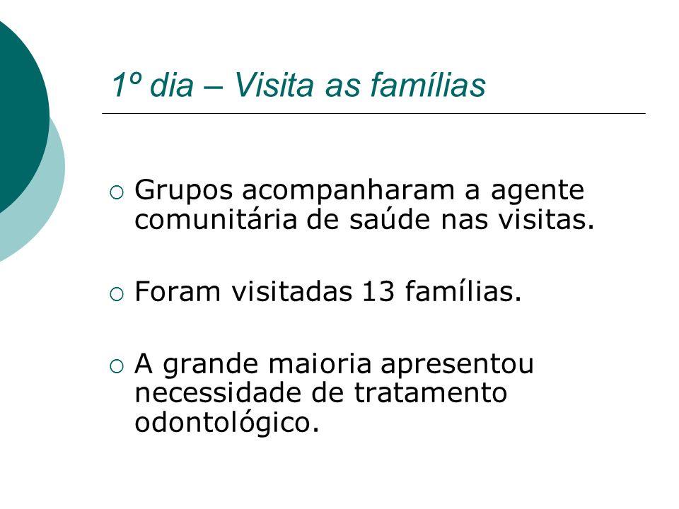 1º dia – Visita as famílias Grupos acompanharam a agente comunitária de saúde nas visitas. Foram visitadas 13 famílias. A grande maioria apresentou ne