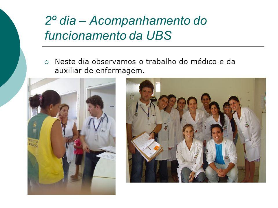 2º dia – Acompanhamento do funcionamento da UBS Neste dia observamos o trabalho do médico e da auxiliar de enfermagem.