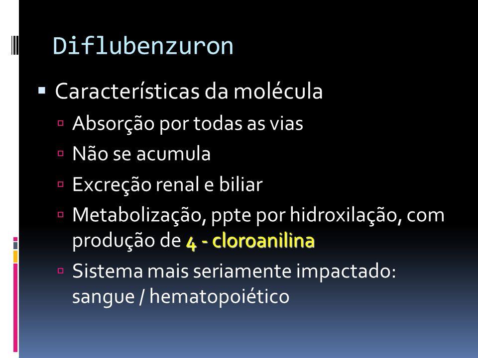 Diflubenzuron: Toxicidade AGUDA Dermal: DL50 - ratos : > 10.000 mg/kg DL50 - camundongos: > 6.200 mg/kg Oral:: DL50 - camundongos > 4.000 mg/kg DL50 - ratos: > 4.640 mg/kg Inalatória: CL50 - ratos : > 3,52 mg/l - 4 horas de exposição CRÔNICA Oral / dieta: NOAEL 52 semanas / cães: 2 mg / kg p.c.