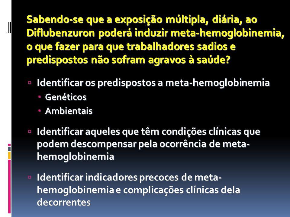 8 Meta-hemoglobinemia: causas Hereditária Hemoglobina M Deficiências enzimáticas Adquirida por exposição a: Medicamentos: analgésicos, vasodilatadores, anestésicos, antibióticos, vitaminas, antimaláricos Cosméticos: filtros solares, corantes Domissanitário: repelentes de insetos, desinfetantes Alimentos industrializados: corantes e conservantes Produtos químicos: benzeno, tolueno, fenol, cobre bivalente, cromatos, cloratos Agrotóxicos: bipiridilos, benzoilfeniluréia