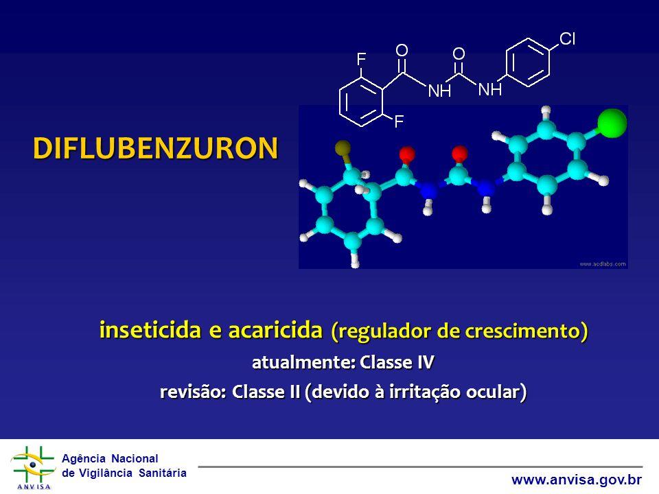 Agência Nacional de Vigilância Sanitária www.anvisa.gov.br DIFLUBENZURON inseticida e acaricida (regulador de crescimento) atualmente: Classe IV revis