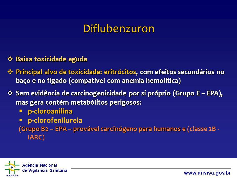 Agência Nacional de Vigilância Sanitária www.anvisa.gov.br Diflubenzuron Baixa toxicidade aguda Baixa toxicidade aguda Principal alvo de toxicidade: e