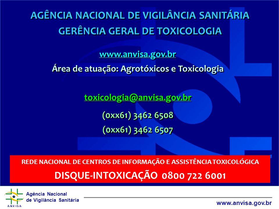 Agência Nacional de Vigilância Sanitária www.anvisa.gov.br AGÊNCIA NACIONAL DE VIGILÂNCIA SANITÁRIA GERÊNCIA GERAL DE TOXICOLOGIA www.anvisa.gov.br Ár