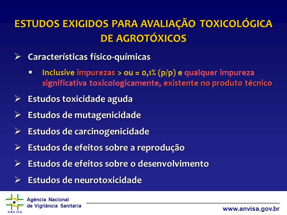 Agência Nacional de Vigilância Sanitária www.anvisa.gov.br ESTUDOS EXIGIDOS PARA AVALIAÇÃO TOXICOLÓGICA DE AGROTÓXICOS Características físico-químicas