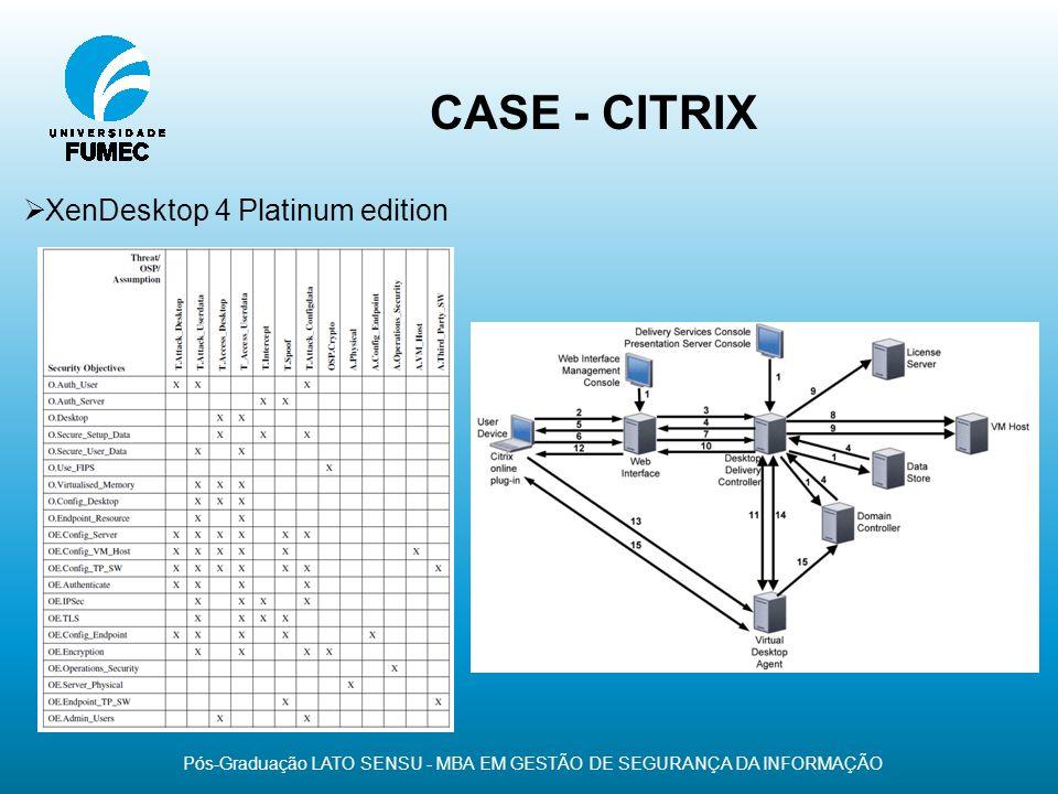 CASE - CITRIX Pós-Graduação LATO SENSU - MBA EM GESTÃO DE SEGURANÇA DA INFORMAÇÃO XenDesktop 4 Platinum edition