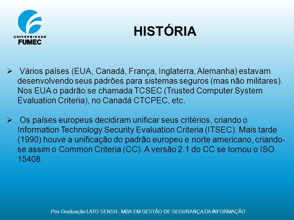 HISTÓRIA Pós-Graduação LATO SENSU - MBA EM GESTÃO DE SEGURANÇA DA INFORMAÇÃO Vários países (EUA, Canadá, França, Inglaterra, Alemanha) estavam desenvo