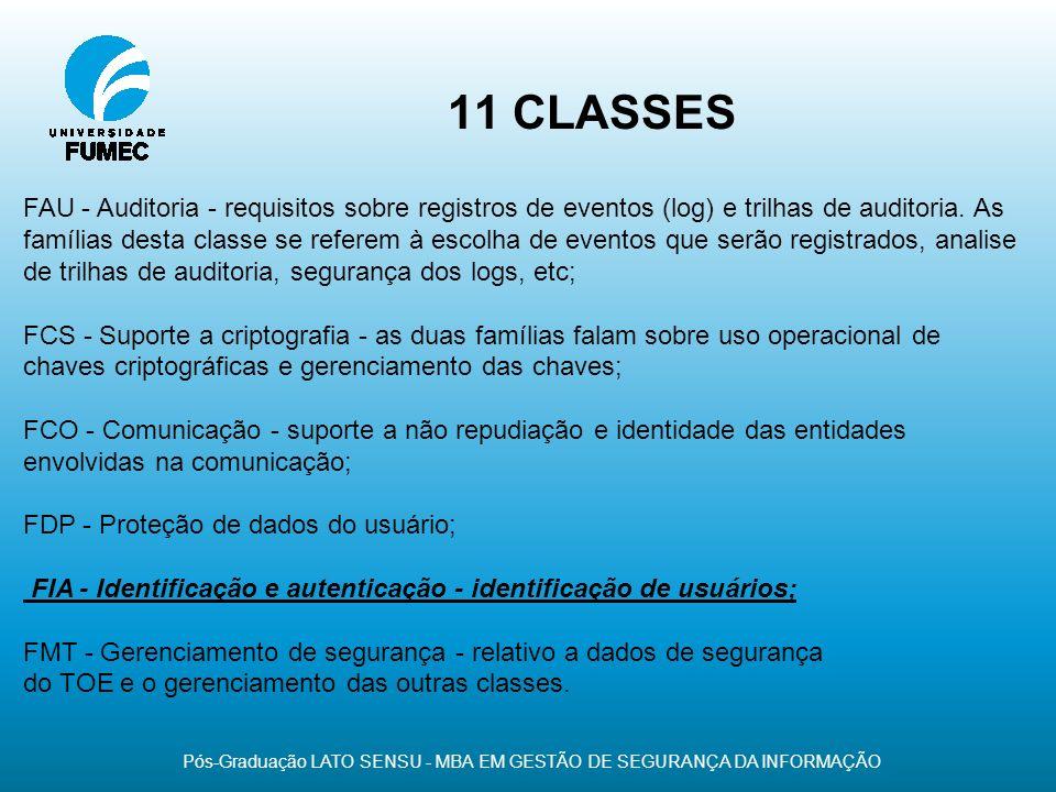 11 CLASSES Pós-Graduação LATO SENSU - MBA EM GESTÃO DE SEGURANÇA DA INFORMAÇÃO FAU - Auditoria - requisitos sobre registros de eventos (log) e trilhas