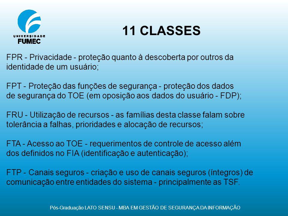 11 CLASSES Pós-Graduação LATO SENSU - MBA EM GESTÃO DE SEGURANÇA DA INFORMAÇÃO FPR - Privacidade - proteção quanto à descoberta por outros da identida
