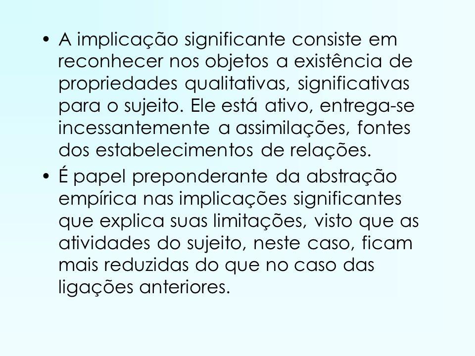 A implicação significante consiste em reconhecer nos objetos a existência de propriedades qualitativas, significativas para o sujeito. Ele está ativo,