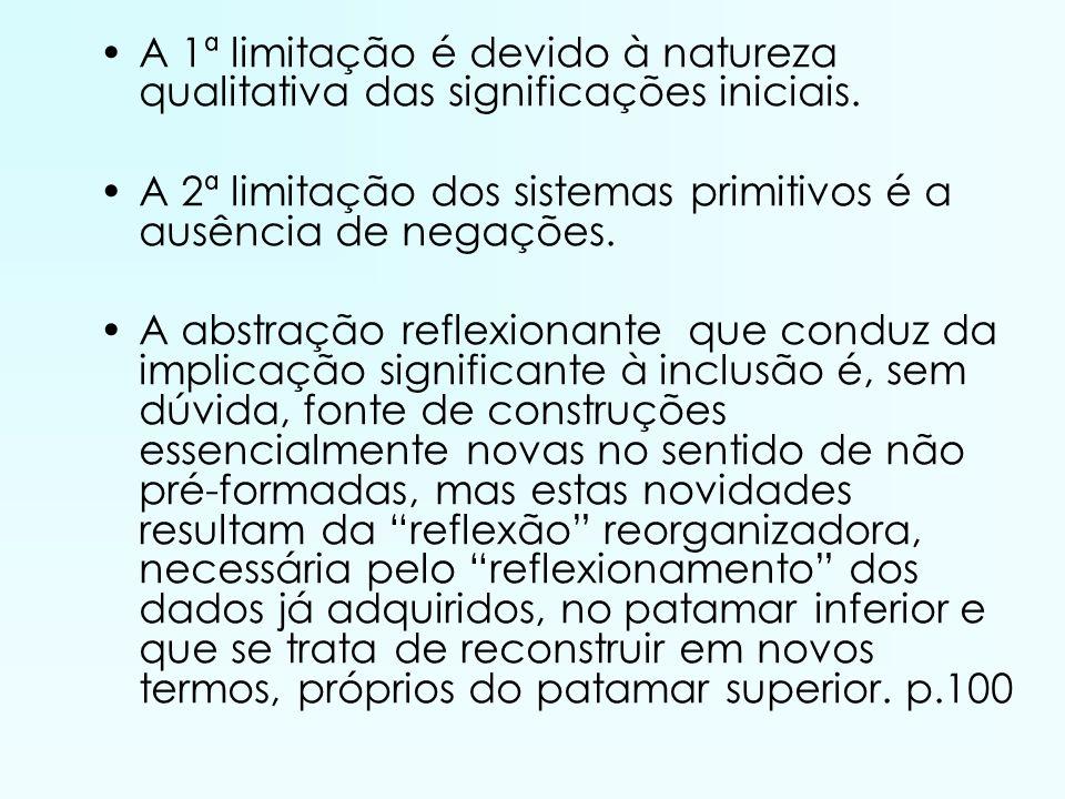 A 1ª limitação é devido à natureza qualitativa das significações iniciais. A 2ª limitação dos sistemas primitivos é a ausência de negações. A abstraçã