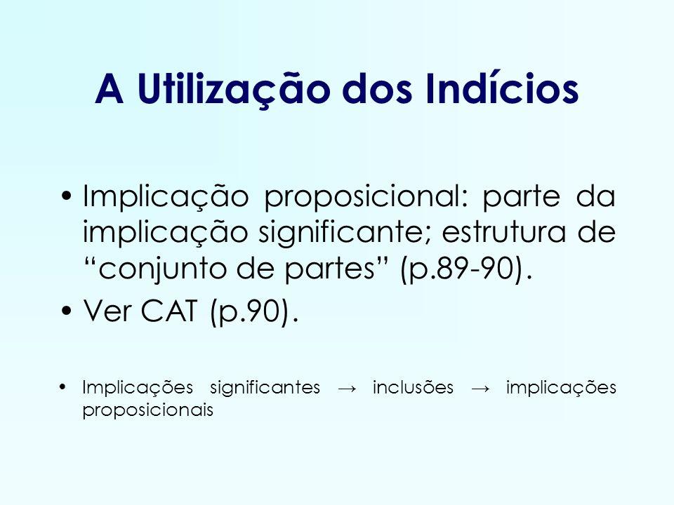 A Utilização dos Indícios Implicação proposicional: parte da implicação significante; estrutura de conjunto de partes (p.89-90). Ver CAT (p.90). Impli